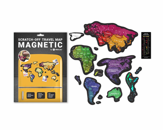 Scratch Map Magnetic World colored