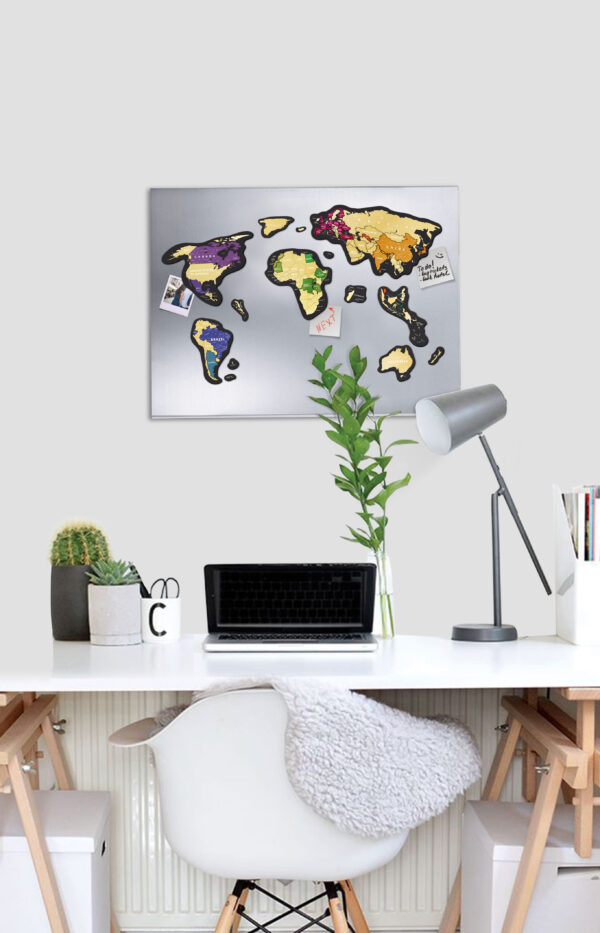 Scratch Map Magnetic World on the wall office
