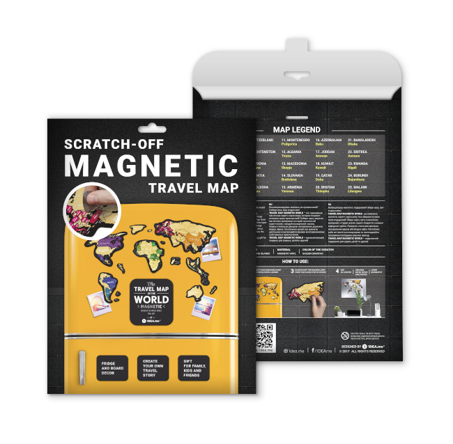 Scratch Map Magnetic World packaging