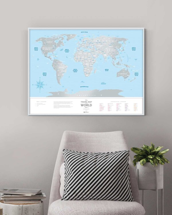 Scratch Map Silver World in enterior