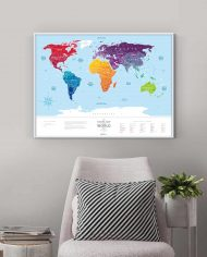 """Scratch Map """"Silver World"""" colored in interior"""