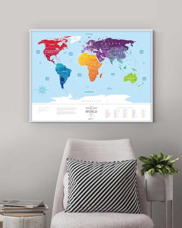 Scratch Map Silver World colored in interior