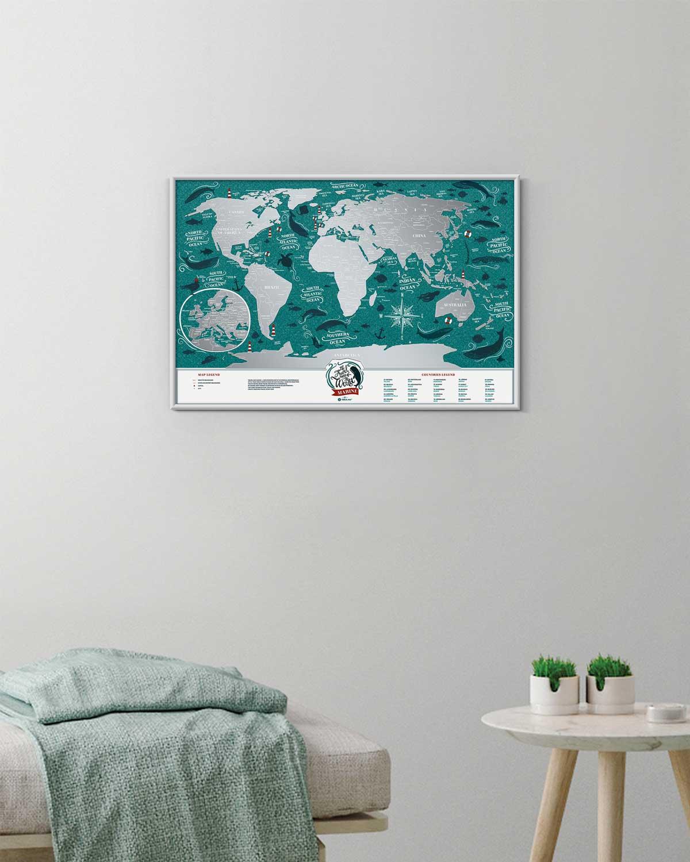 Scratch Off Map Marine World in interior